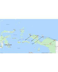 Rondreis Indonesie –Papua – rondreis Papua met Raja Ampat 23 dagen – 22 nachten Routekaart