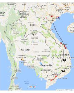 Venture travels - Rondreis Vietnam: Vietnam van noord naar zuid – hoogtepunten: route