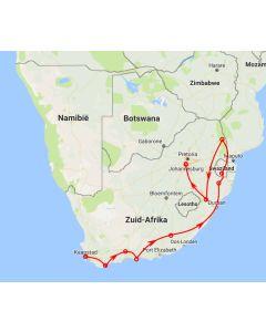 Rondreis Zuid-Afrika, Bijzondere overnachtingen, steden en safari's - route