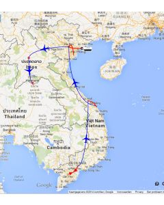 Rondreis Vietnam en Laos: route rondreis Vietnam en Laos 14 dagen 13 nachten