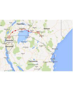 Venture Travels route trucksafari Afrika 10 dagen Kampala naar Nairobi