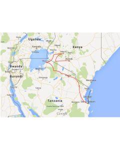 reisschema truck safari Afrika Nairobi naar Dar es Salaam